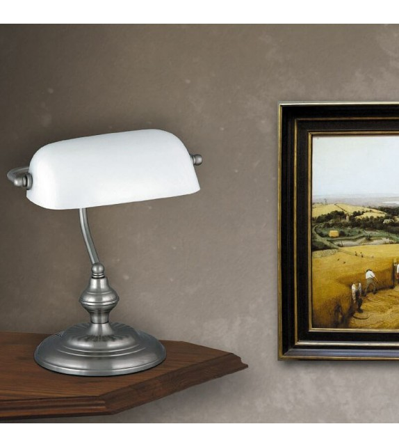 Lampa de birou Bank 4037 Rabalux, E27 60W, crom satinat-alb