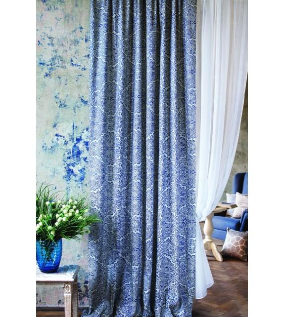 Material draperie cu decor Bergada, latime 280 cm, albastru
