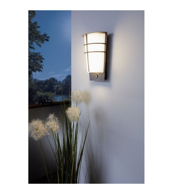 Aplica exterior cu senzor EGLO 96017 BREGANZO, LED 2x2.5W, 360lm, argintiu-alb