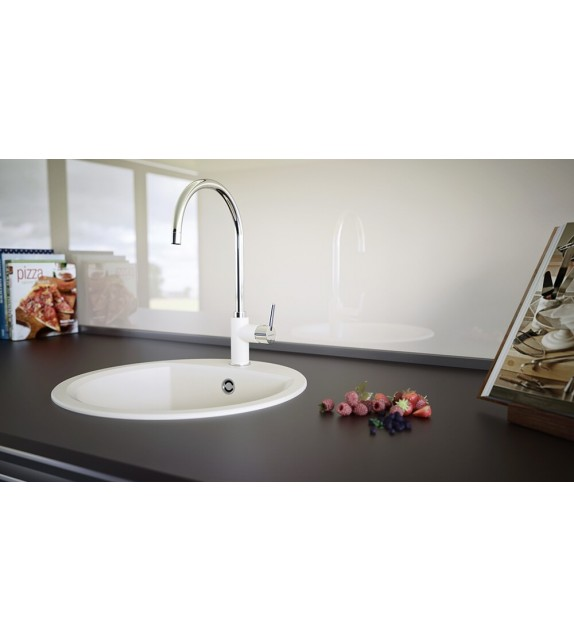 Chiuveta bucatarie granit SCHOCK Manhattan R-100 Alpina, Cristalite, nuanta alb