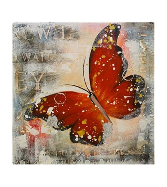 Tablou pictat manual Butterfly rosu, dimensiunea 40x40cm