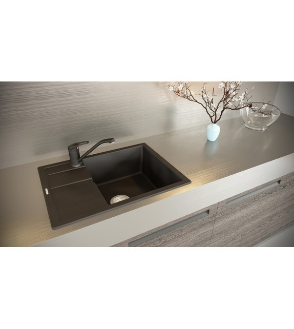 Chiuveta Bucatarie Granit SCHOCK RONDA D-100L Nero Cristalite, negru