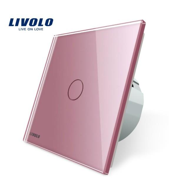 Intrerupator tactil simplu Livolo, roz, cu panou din sticla securizata