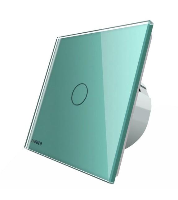 Intrerupator tactil simplu Livolo, verde, cu panou din sticla securizata
