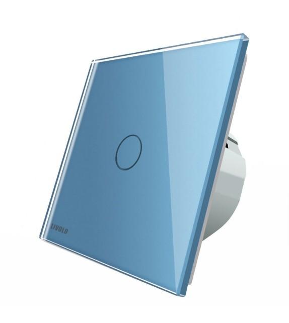 Intrerupator tactil simplu Livolo, albastru, cu panou din sticla securizata