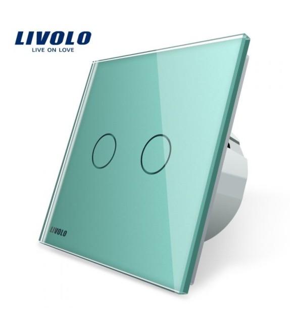 Intrerupator Dublu Livolo, cu Touch si panou verde din sticla securizata