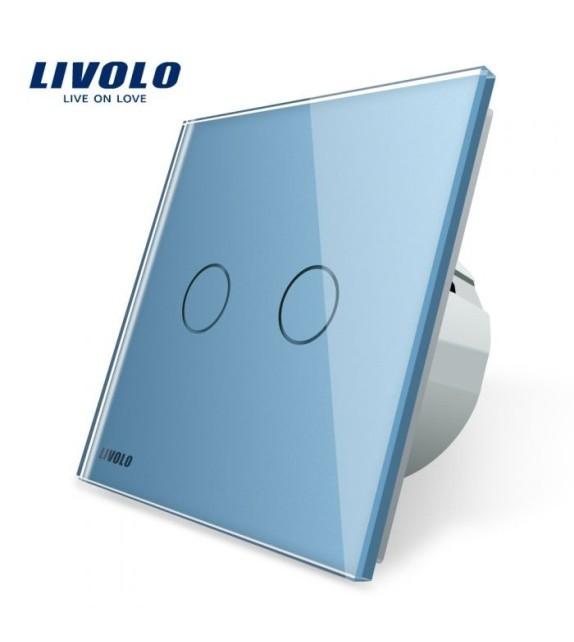 Intrerupator Dublu Livolo, cu Touch si panou albastru din sticla securizata