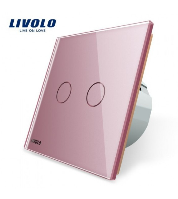Intrerupator Dublu Livolo, cu Touch si panou roz din sticla securizata
