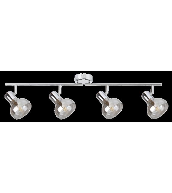 Plafoniera Spot HOLLY 5559 Rabalux, E14, 4x40W, Metal Crom, Sticla Fumurie