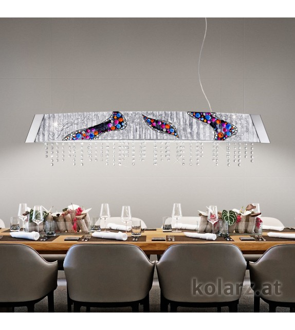 Corp iluminat suspendat BARCA Kiss Silver, KOLARZ, L130, Crom, LED dimabil 2x13W